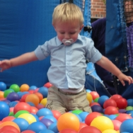 Chase playing in a ball pit at the State Fair (8/7/10)