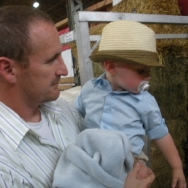 Chase looking at the animals at State Fair (8/7/10)