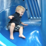 Chase going down the spiral slide on his own! (6/13/10)