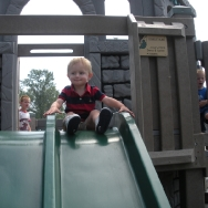 Chase going down the slide at the playground (8/20/10)