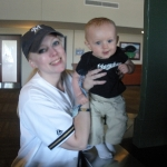 Mommy and Chase at his first Brewer\'s Game! (7/12/09)