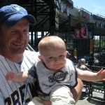 Daddy and Chase at his first Brewer\'s Game (7/12/09)
