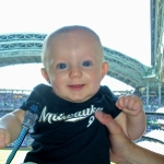 Chase at his first Brewer\'s Game (7/12/09)