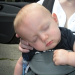 Chase tuckered out after his first Brewer\'s Game (7/12/09)