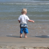 Chase walking into the water (7/24/10)