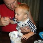 Dadda sharing his Culver\'s custard with Chase (7/10/10)