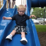 Chase going down the slide on his own! (6/13/10)